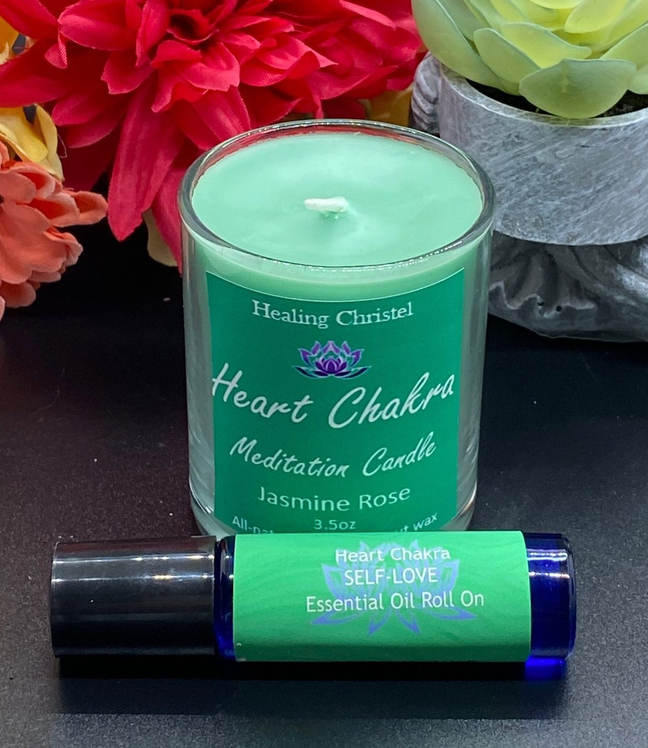 heart chakra candle and rollerball