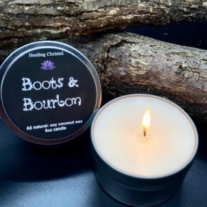 boots & bourbon travel tin candle