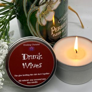 drunk wives travel tin candle
