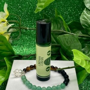 Money Magnet Essential Oil Rollerball Blend with crystal stretchy bracelet